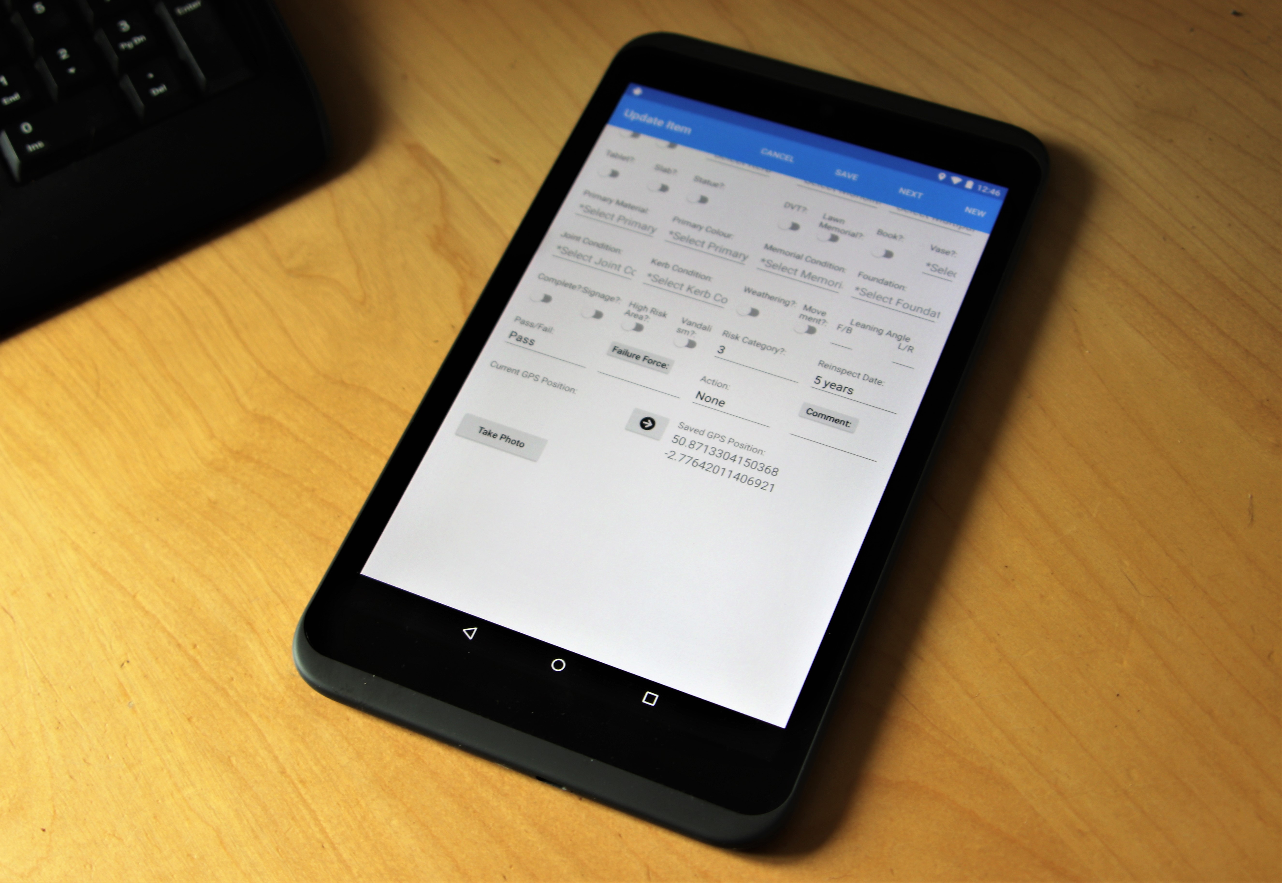 Image of tablet PC displaying AuditAssist software
